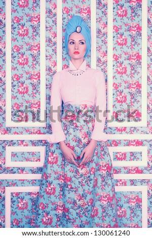 Fashion art photo elegant lady on floral background - stock photo