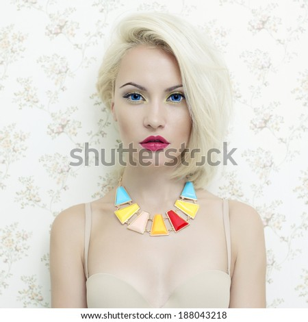 Fashion art photo of beautiful lady doll with blue eyes - stock photo
