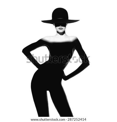 Fashion art photo of beautiful lady with gorgeous body - stock photo