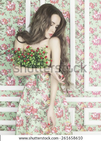 Fashion art photo of elegant lady on floral background - stock photo