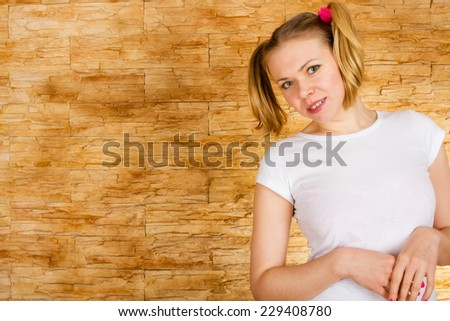 Fashion art photo of young sensual lady brick wall at background - stock photo