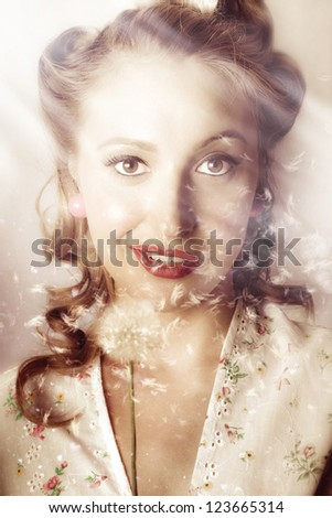 Fashion Art Portrait Of A Beautiful Girl In Autumn Field During Fall In A Classic Depiction Of A Fifties Pinup Woman - stock photo