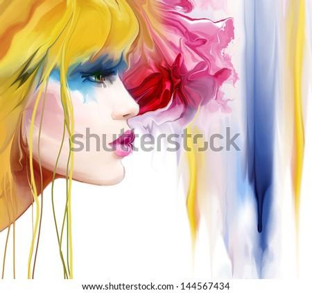 Fashion Art Portrait Of Beautiful Girl - stock photo