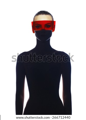 Fashion art studio photo of beautiful elegant futuristic lady - stock photo