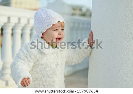 fashion baby girl wearing white clothing - stock photo