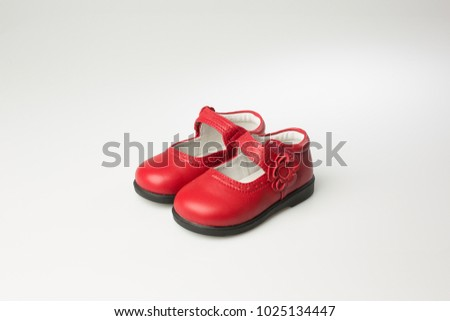 Fashion baby red shoes with red flower