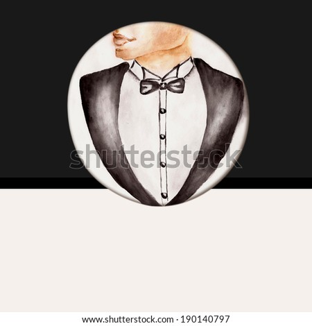 Fashion background with bow tie, gentleman