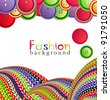 fashion background with knitting and buttons - stock vector