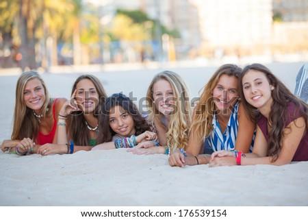 fashion beach girls on summer vacation - stock photo