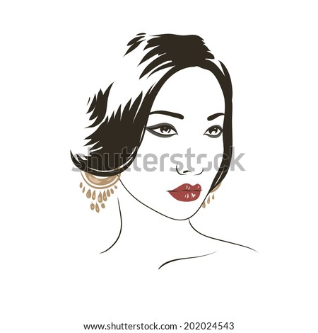 Fashion beautiful asian woman face, hand drawn line illustration, isolated on white.