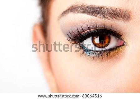 Fashion beautiful female brown watchful eye with long black eyelashes mascara, isolated. - stock photo