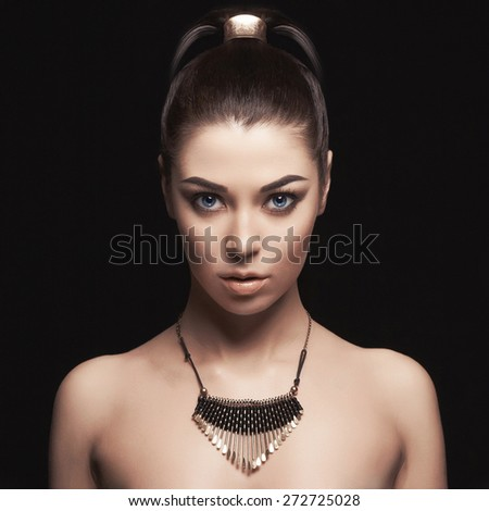fashion beautiful girl with jewelry. Young woman - stock photo