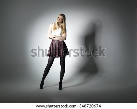 Fashion beautiful women portrait shadow on background, lighting effect to wall.