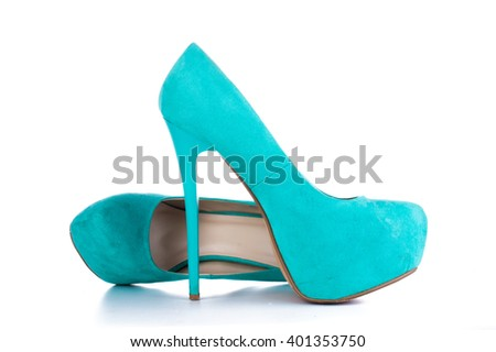 Fashion beautiful women's high-heeled shoes of blue color on a white background - stock photo