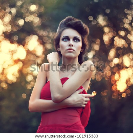 Fashion beautiful young woman outdoors portrait - stock photo