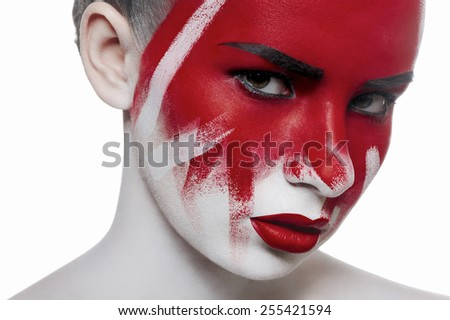 Fashion beauty female model with halloween bloody makeup. Red lips on white skin.