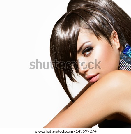 Fashion Beauty Girl. Gorgeous Woman Portrait. Stylish Fringe, Haircut and Makeup. Hairstyle. Make up. Vogue Style. Sexy Glamour Girl  - stock photo