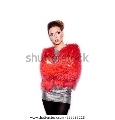 Fashion Beauty Girl. Gorgeous Woman Portrait. Stylish Haircut and Makeup. Vogue Style. Sexy Glamour Girl on White background no isolated - stock photo