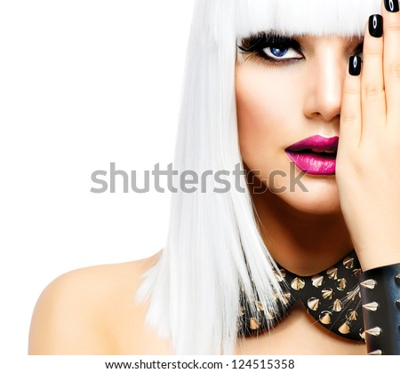 Fashion Beauty Girl. Punk Style Woman isolated on White Background. White Hair and Black Nails. Black Leather metal goth punk bracelet with Chrome Studs - stock photo