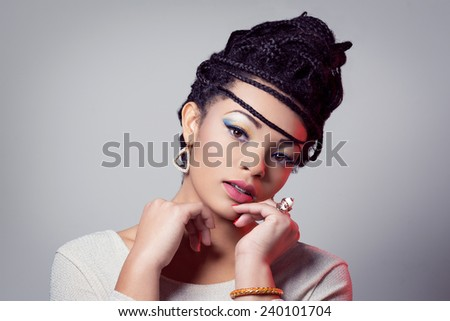 Fashion beauty girl with hair with braids - stock photo