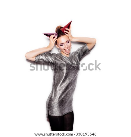 Fashion Beauty Girl with Horns. Gorgeous Woman Portrait. Stylish Haircut and Makeup. On White background no isolated - stock photo