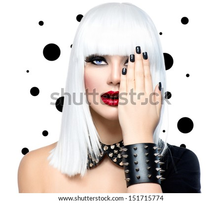 Fashion Beauty Model Girl. Punk Style Woman isolated on White Background. White Hair, Black Nails and Red Lips. Black Leather metal goth punk bracelet with Chrome Studs  - stock photo