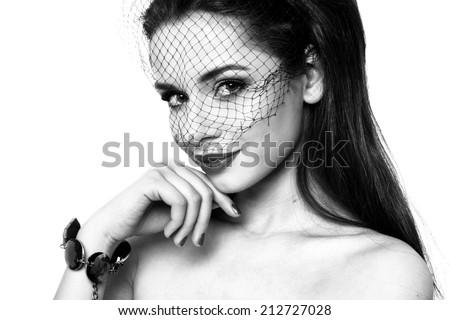 fashion beauty portrait of charming elegant lady in veil - stock photo