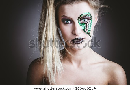 fashion beauty portrait of sexy woman with creative atr make-up