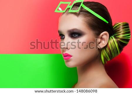 Fashion Beauty Portrait. Sexy Girl. - stock photo