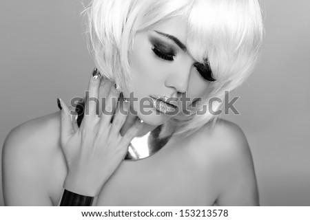 Fashion Beauty Portrait Woman. White Short Hair. Black and White Photo. woman close-up. Vogue Style. - stock photo