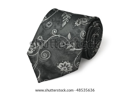 Fashion black silk necktie isolated on white background (clipping path included) - stock photo