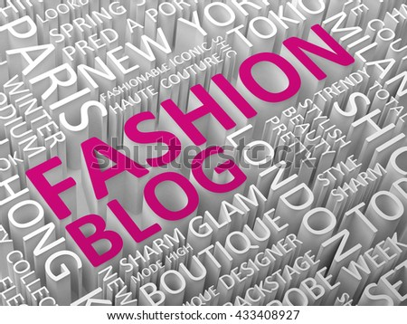 Fashion blog word cloud 3d illustration.