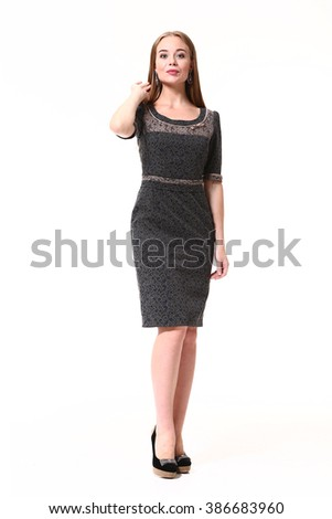 fashion blond executive business woman with long straight hair style in formal dark sleeveless summer dress and high heel shoes stand full body length portrait isolated on white - stock photo