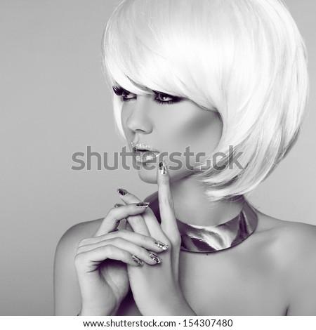 Fashion Blond Girl. Beauty Portrait Woman. White Short Hair. Manicured nails. Black and White Photo.  Fringe. Vogue Style. - stock photo