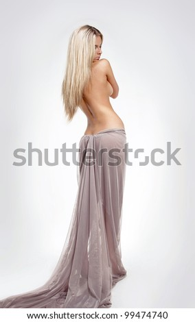 Fashion blond  sensual female model with Straight Long Hair, body care - stock photo