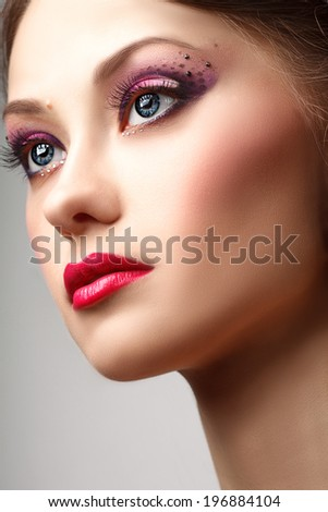 fashion blonde model portrait professional makeup, red lips