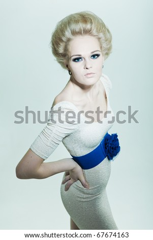 Fashion blonde with smoky eyes - stock photo