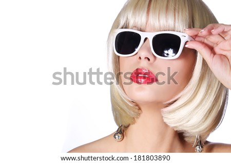 Fashion Blonde with Sunglasses. Glamorous young woman with short bob hairstyle isolated on white. Vogue Style Girl. Haircut