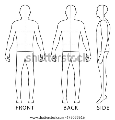 fashion body full length bald template stock illustration