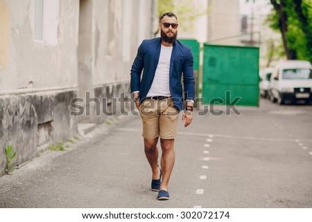 fashion brard man  outdors - stock photo
