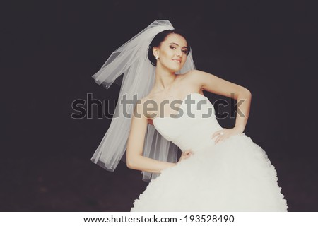 Fashion bride. Summertime newlywed. - stock photo