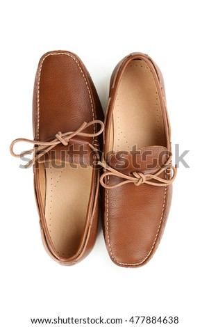 Fashion brown shoes isolated on a white