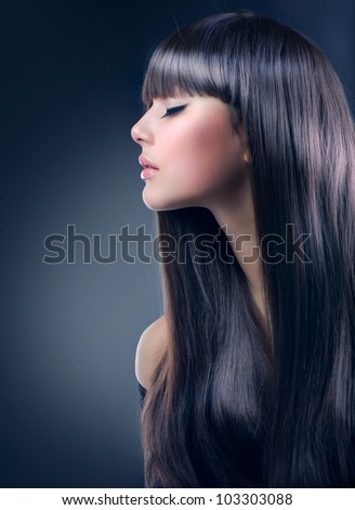 Fashion Brunette Girl. Healthy Long Hair, Haircut - stock photo