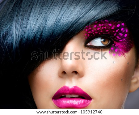 Fashion Brunette Model Portrait. Hairstyle. Haircut. Professional Makeup. False Eyelashes - stock photo