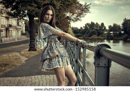 Fashion brunette woman  - stock photo