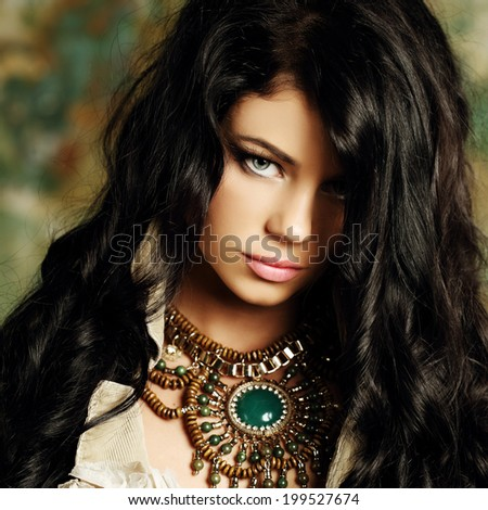 Fashion brunette woman, beauty fine art portrait - stock photo