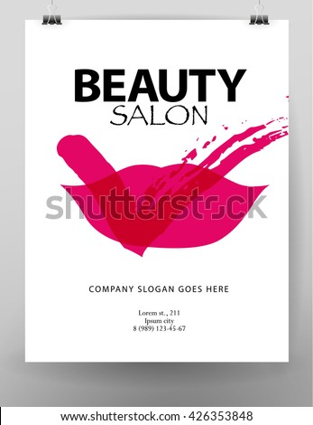 Fashion cards template. Beauty invitation, leaflet, poster, placard, banner, advertising design. Beauty salon logo, insignia design.  - stock photo
