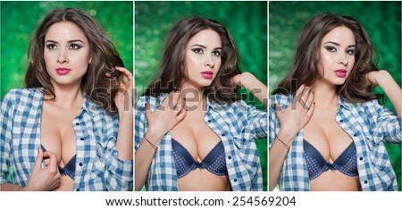 Fashion Caucasian model posing indoor on bright green textured background. Sexy brunette with white and blue checkered shirt. Attractive long hair woman with unbuttoned shirt exposing nice chest. - stock photo