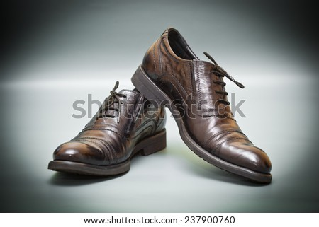 Fashion classic leather shoes on abstract background. fashion Trend