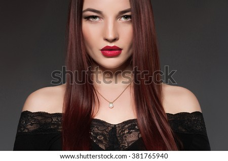 fashion close-up portrait of beautiful young woman.beauty girl with make-up and healthy hair - stock photo
